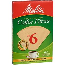 40 Pack Natural Brown #6 Cone Coffee Maker Filters thumb
