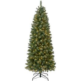 9' Flocked Christmas Tree, with 500 Clear Lights thumb