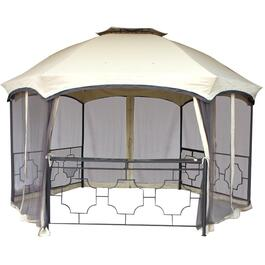15' x 12' Hexagon Gazebo with Netting and Shelf thumb