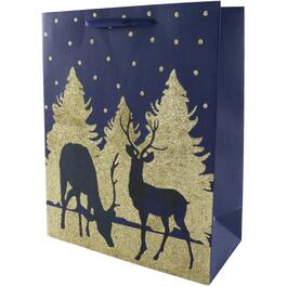 "10"" x 13"" Glitter Reindeer Christmas Gift Bag, Assorted Colours thumb"