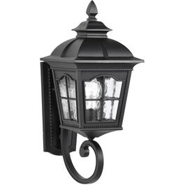 "21.25""  Black Outdoor Upward Coach  Light Fixture with Clear Water Glass thumb"