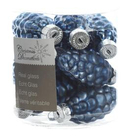 12 Pack Glass Blue Pinecone Ornaments thumb