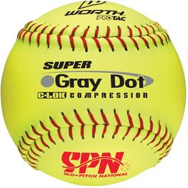 "12"" Optic Yellow Gray Dot Super Softball thumb"