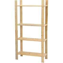 "60"" x 30"" x 12-1/2"" 4 Shelf Pine Wood Shelving thumb"