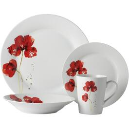 16 Piece Round Porcelain Ruby Poppy Dinnerware Set thumb