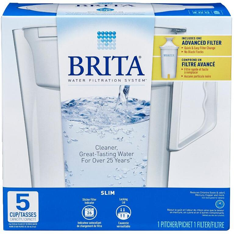 BRITA 5 Cup White Slim Water Pitcher with Filter