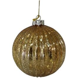 100mm Glass Gold Ornament, with Mercury Finish thumb