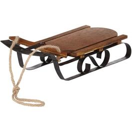 Vintage Wood Decor Sleigh, with Metal Frame thumb