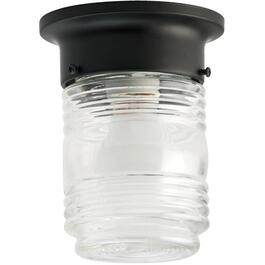 "5-3/4"" Black Outdoor Flushmount Ceiling Fixture thumb"