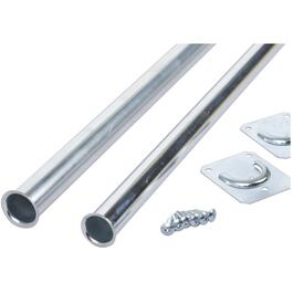 "72"" - 96"" Zinc Heavy Duty Adjustable Closet Rod, with Detachable Flange thumb"