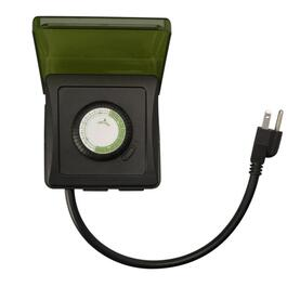 2 Outlet 24 Hour Outdoor Heavy Duty Mechanical Timer, with 3 Conductors thumb