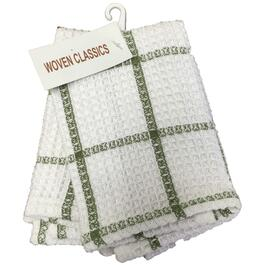"2 Pack 14"" x 14"" Moss and White Waffle Dish Cloths thumb"