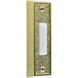 Lighted Wired Brass Plastic Doorbell Push Button with White Button thumb