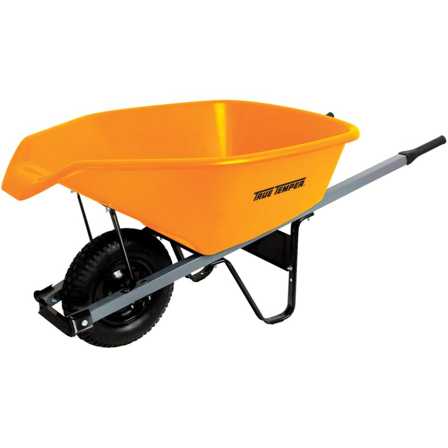 true temper 6 cu. ft poly tray wheelbarrow, with easy pour