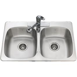"31"" x 20"" x 7"" Double Stainless Steel 3 Hole Kitchen Sink, with Ledge and Mirror Deck thumb"