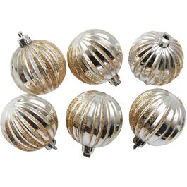6 Pack 60mm Plastic Gold/Silver Ornaments thumb