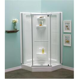 "42"" Clear/Silver Angle Shower Cabinet thumb"