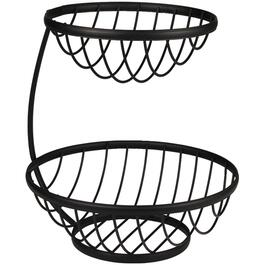 Black Ashley 2 Tier Black Fruit Basket thumb
