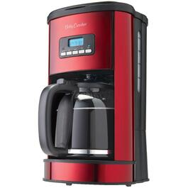 12 Cup Black/Metallic Red Basket Coffee Maker, with Timer thumb