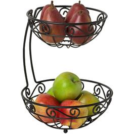 2 Tier Scroll Black Fruit Basket thumb