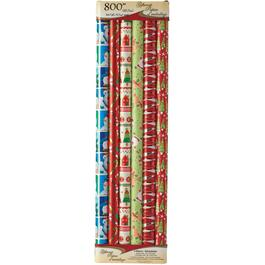 "3 Pack 30"" x 100"" Foil Gift Wrap Roll, Assorted Designs thumb"