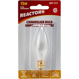 15W B8 Candelabra Base Clear Chandelier Light Bulb thumb