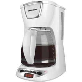12 Cup White Basket Coffee Maker, with Timer thumb