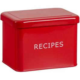 Red Enamel Bilingual Recipe Box, with Cards thumb