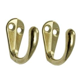 2 Pack  Brass Single Wardrobe Hooks thumb