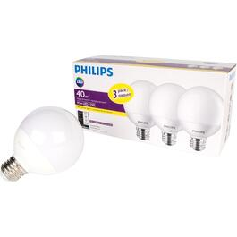3 Pack 4.5W G25 Medium Base Soft White LED Light Bulbs thumb