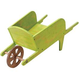 Green Wooden Wheelbarrow Planter thumb