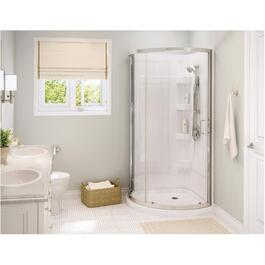 "34""x 34"" White Cyrene Round Shower Cabinet with Clear Glass Door and Chrome Trim thumb"