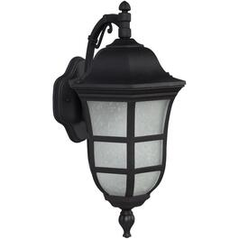 "18.75"" Black Outdoor Downward Coach Light Fixture with Frosted Seeded Glass thumb"