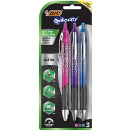 3 Pack Medium Point Pink/Purple/Blue Fashion Gel Pens thumb