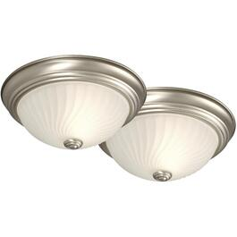 "2 Pack 11"" Pewter Swirl Glass Flush Light Fixture thumb"