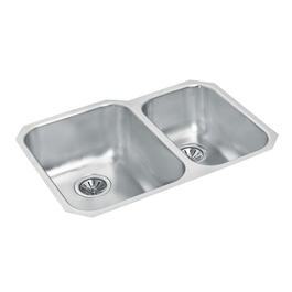 "29 1/8"" x 20"" x 8"" & 7"" Stainless Steel One and a Half Bowl Undermount Kitchen Sink thumb"