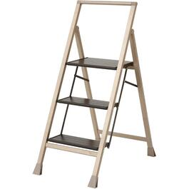 3 Step Aluminum Step Ladder, with Wooded Steps thumb