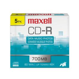 5 Pack 700MB CD-R Slim Jewel Disks thumb