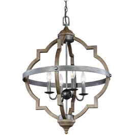 Socorro 4 Light Distressed Oak Chandelier Light Fixture with Rustic Charm thumb