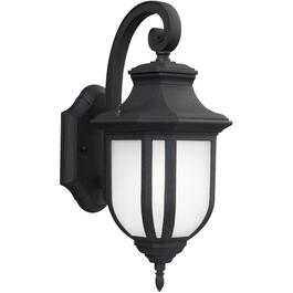 "Childress 14.625"" Black Outdoor Downward Coach Light Fixture, with Etched Glass thumb"