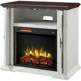 "Westin 38"" Media Electric Infrared Fireplace, Aged White Finish thumb"
