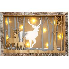 "10"" Battery Operated Lighted 3D Forest Scene Wall Plaque thumb"