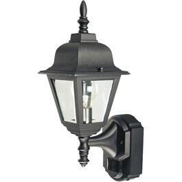 Cottage Style Black Outdoor Coach Light Fixture, with 180 Degree Motion Sensor thumb