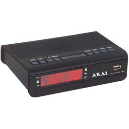 1 Alarm Red LED Clock Radio, with USB Charging Port thumb