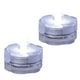 2 Pack Battery Operated Waterproof Pure White Tea Light Candles thumb