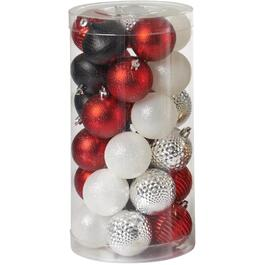 30 Pack Red/White/Black Plastic Ornaments thumb