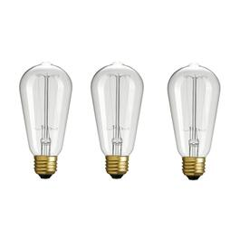 3 Pack 60W S60 Medium Base Vintage Edison Clear Light Bulbs thumb