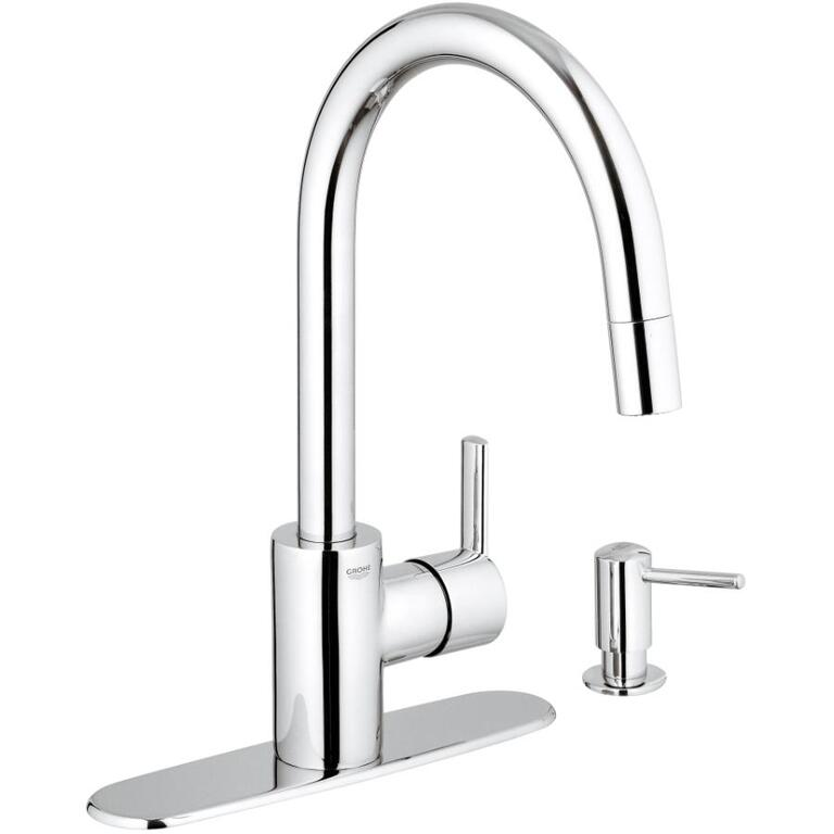 Grohe Feel 1 2 3 Or 4 Hole Chrome Pull Out Faucet Deck With Soap
