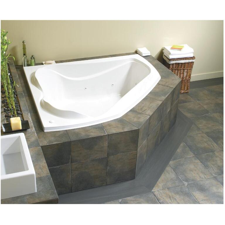 Cocoon White Corner Whirlpool Bath Tub - Home Hardware