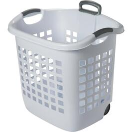 "21"" x 16"" x 22"" White Laundry Basket, with Wheels thumb"
